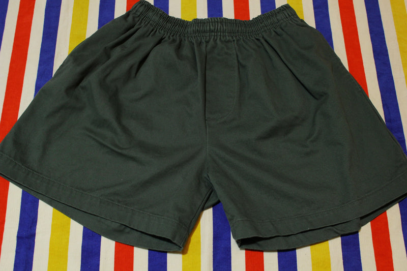 Surf Report International Made In USA Green Elastic Waist Shorts.