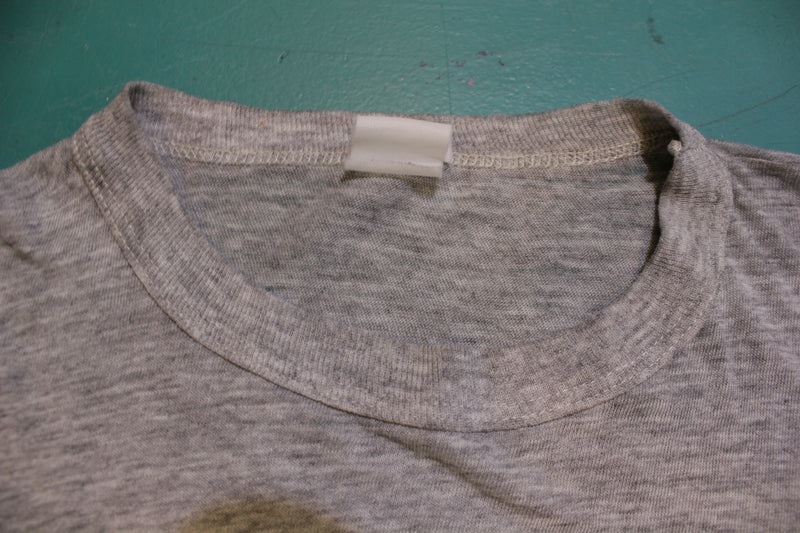 Oxford University Heathered Gray Banded Collar Vintage Single Stitch T-Shirt 80's