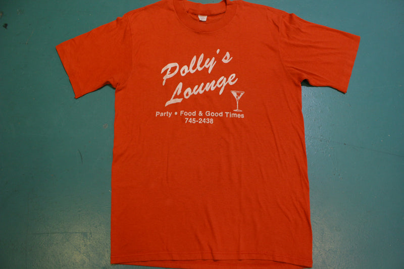 Polly's Lounge Party Food Good Times 745-2438 Vintage Single Stitch T-Shirt 80's