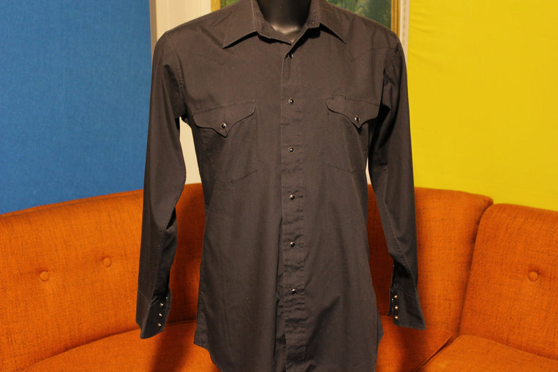 Panhandle Slim Black on Black Vintage Pearl Snap. Western Shirt