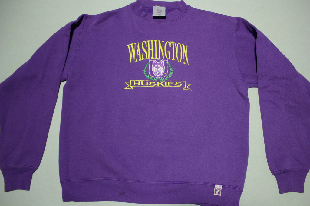 University of Washington Logo 7 Embroidered Huskies Vintage 90's Crewneck Sweatshirt