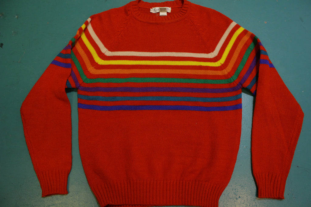 Sweater Bee Red Knit Rainbow Striped 80's Winter Sweater