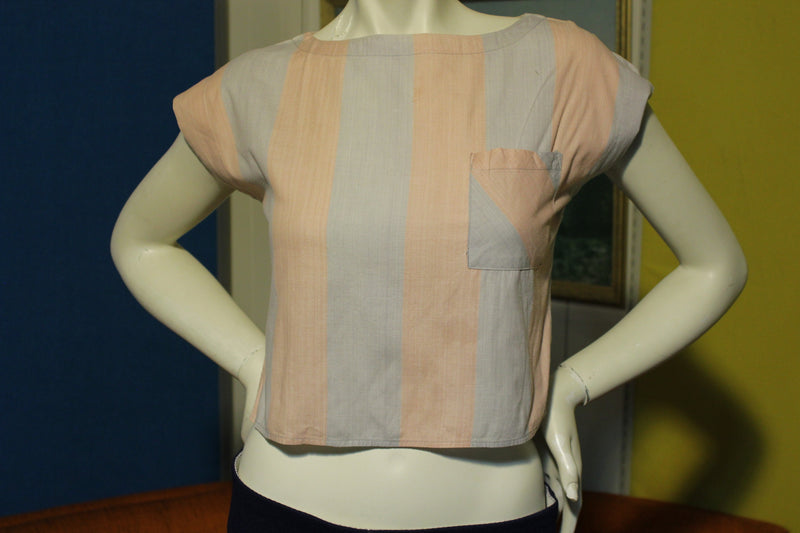 80's Pastel Half Shirt Trendi Women's Small Sleeveless w/ Pocket