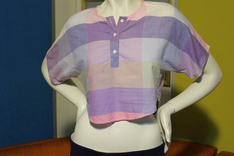 80's Pastel Half Shirt JR's Women's Medium Button Checkered