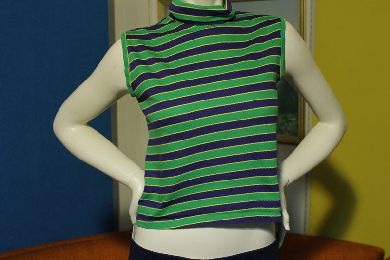 Mister Marty MM 60's 70's Summer Half Shirt Striped Turtle Neck Zipper.