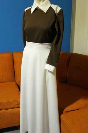 Carole King Vintage 70's Dress Long Sleeve Shirt Maxi Style Half Zip.