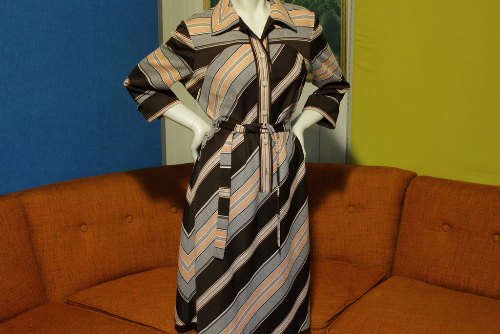Jo Lester Vintage 60's 70's Caftan Dress Striped Boho Style Matching Belt