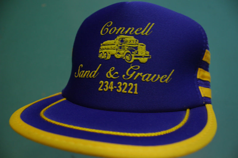 Connell WA Sand & Gravel 234-3221 3 Stripes 80's Vintage Snapback Trucker Cap Hat