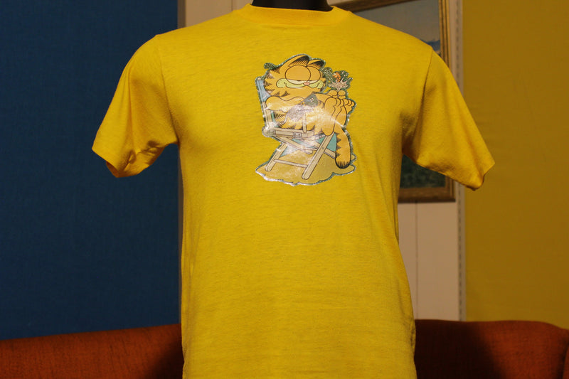 Garfield Heathcliff Vintage Sparkle Iron On 70's 80's T-Shirt. Thin & Soft.
