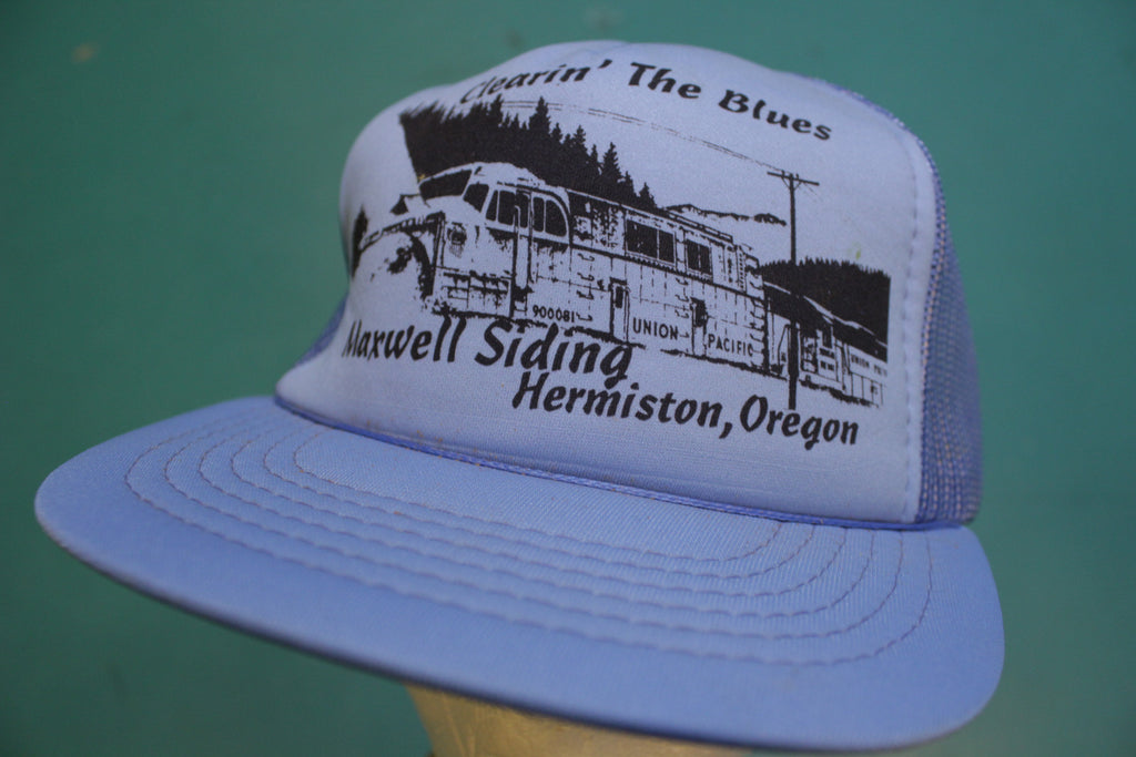 Clearin' The Blues Maxwell Siding Hermiston 80's Vintage Snapback Trucker Cap Hat