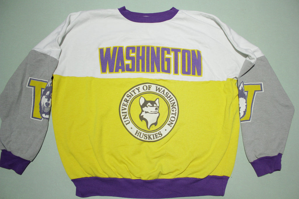 University of Washington Huskies Color Block Vintage 90's Crewneck Sweatshirt