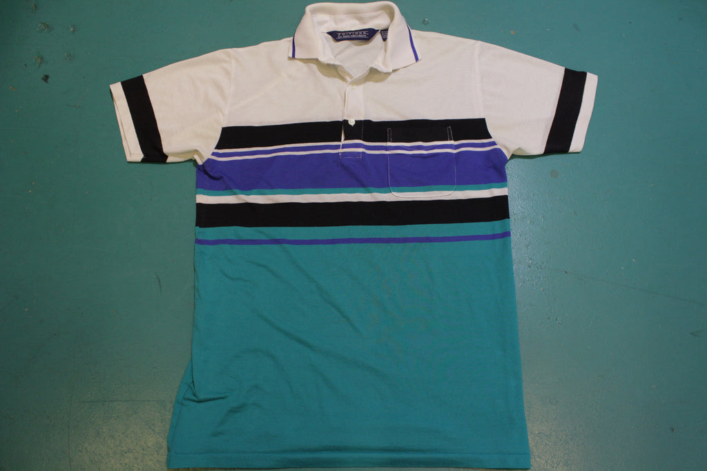 Van Heusen Editions Color Block Vintage 80's Single Stitch Polo Shirt