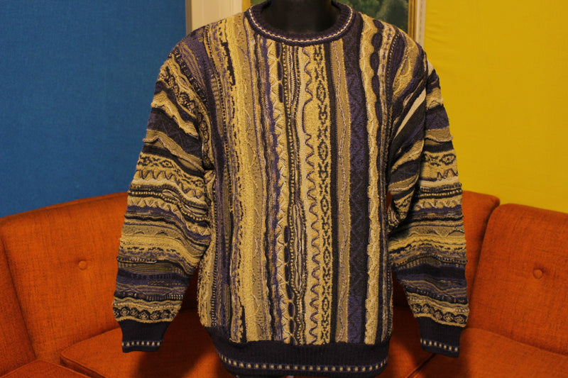 Norm Thompson Men's XL Italian Striped Sweater Coogi Style Biggie Cosby Hip Hop