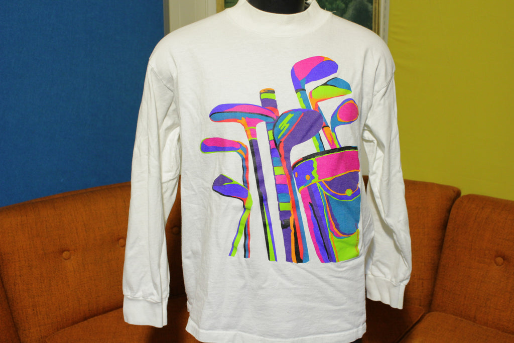 Andrew Carson Vintage 1992 Fluorescent Golf Shirt 90's Sports Long Sleeve USA