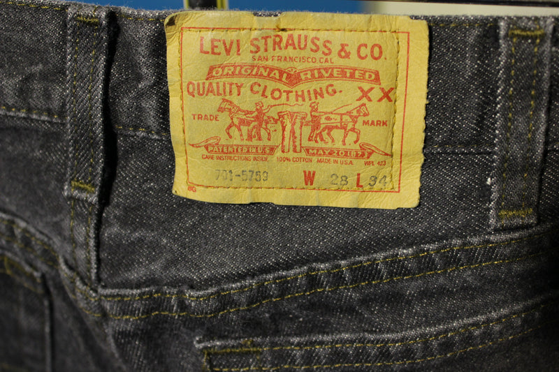 Levis Red Tab Black 701 Made in USA Jeans Vintage 80's Student Fit 501