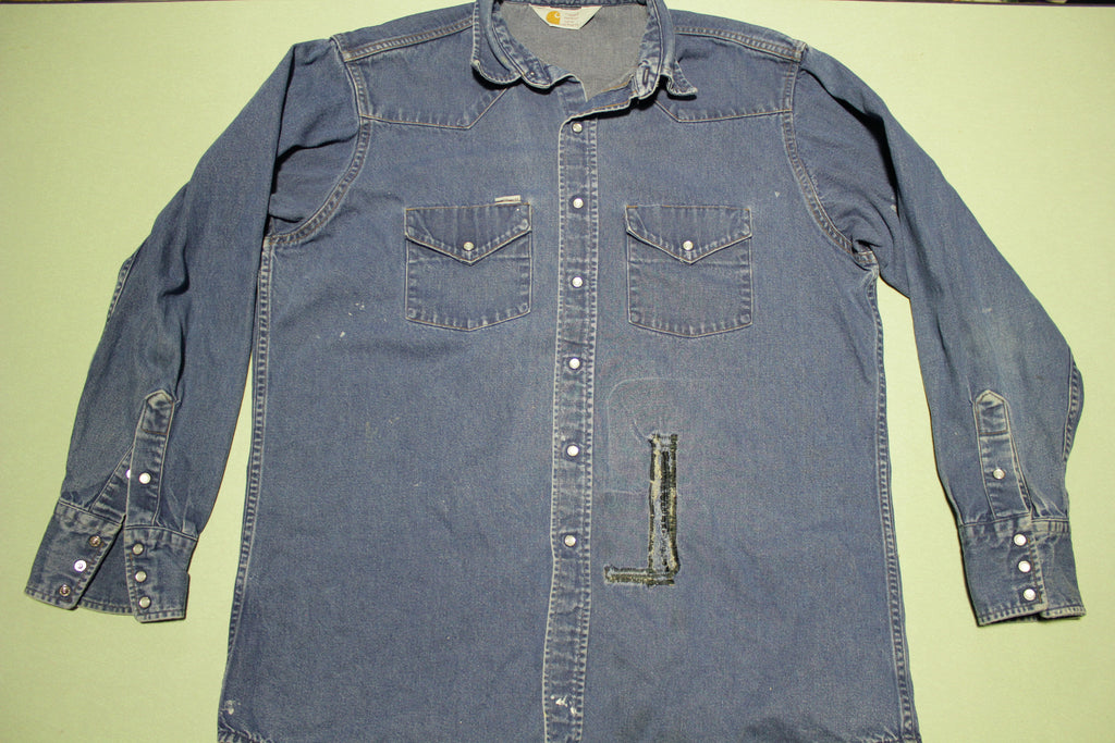 Carhartt Denim Rugged Wear SU008 Vintage Pearl Snap Button Up Work Shirt