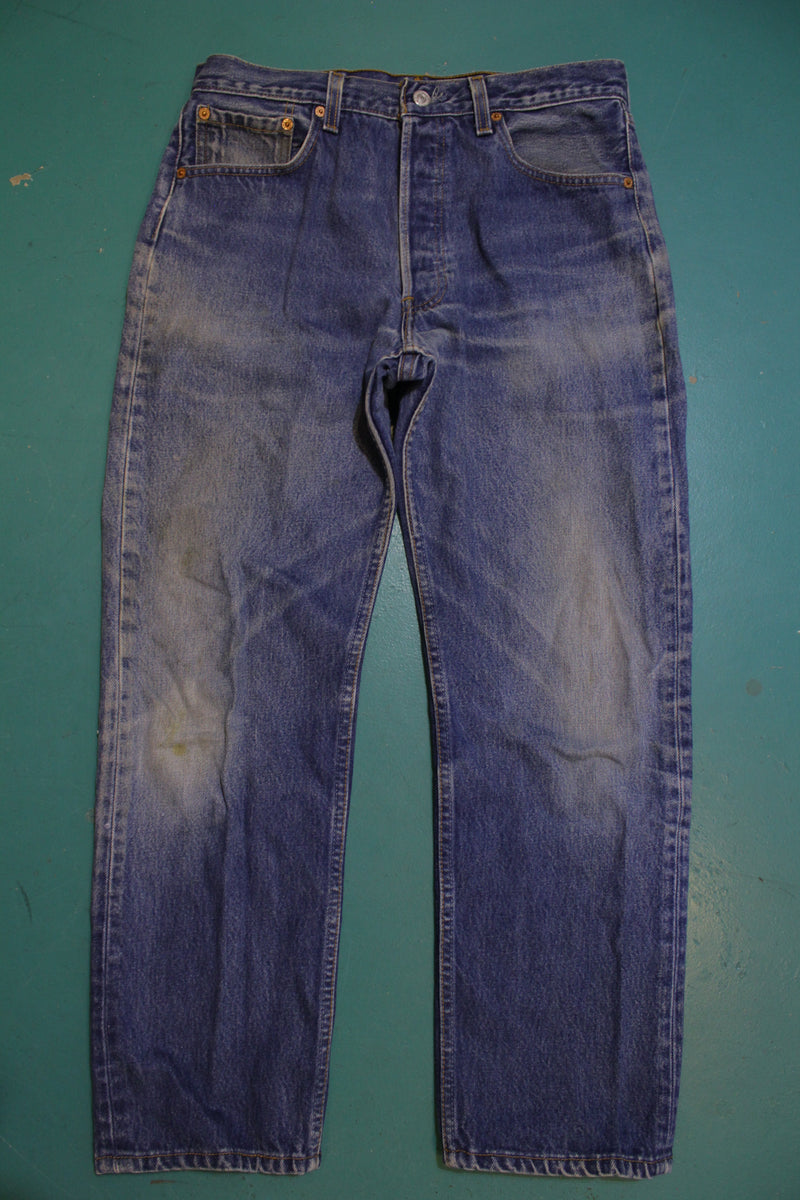 Levis 501 Button Fly 90s Red Tag Made in USA Vintage Blue Denim Jeans 32x29