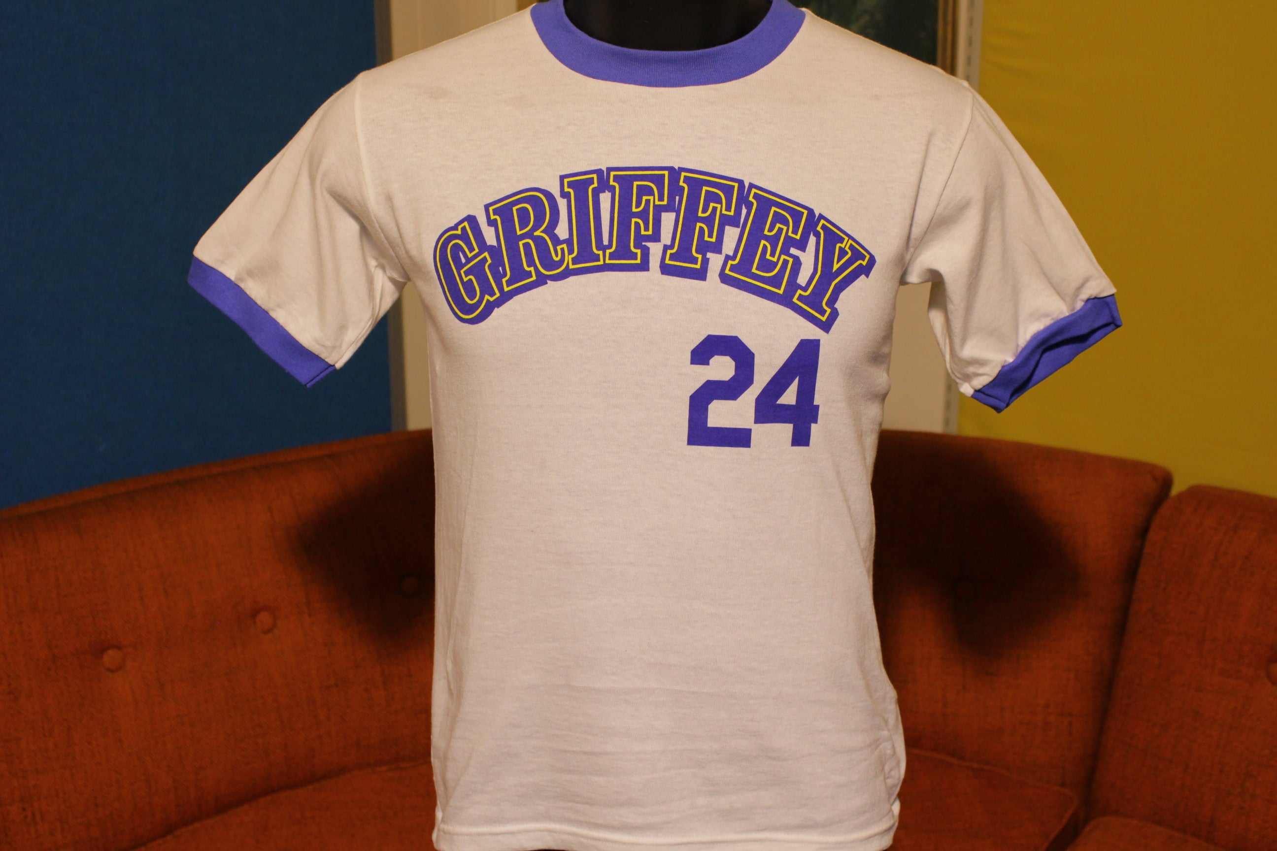 1989 Ken Griffey Jr. #24 Ringer T-Shirt. Vintage Seattle Mariners. Mint NWOT