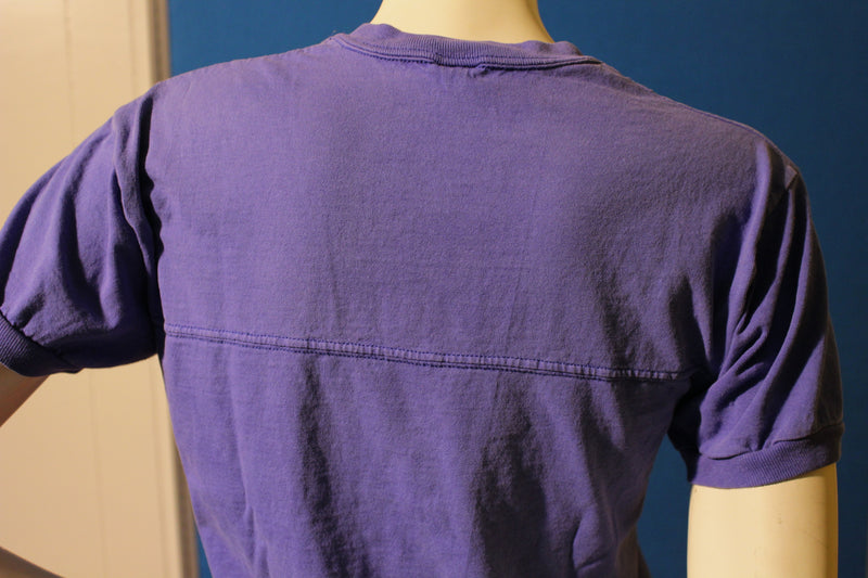 Jerzees Made in USA Blank V-Neck 80's T-shirt. Banded Sleeves.