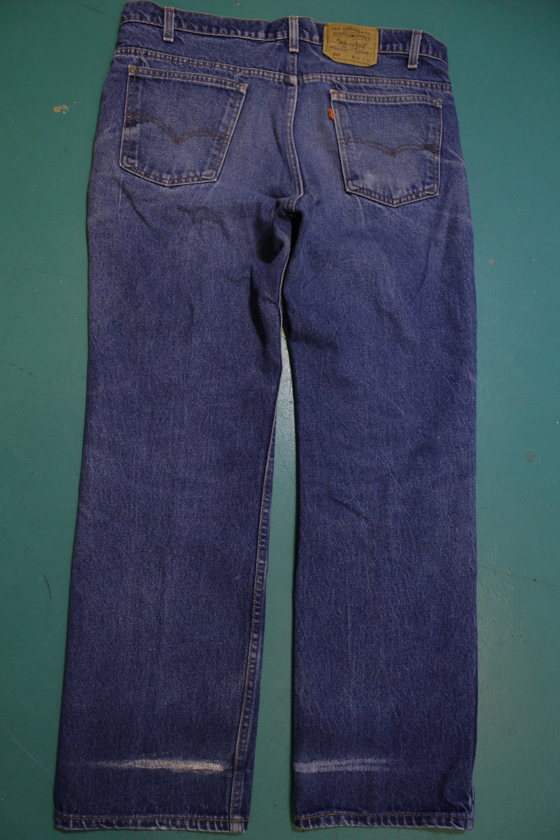 Levis Vintage 80s Orange Tab 517 Faded Denim Jeans Made in USA Men's Size 38x31
