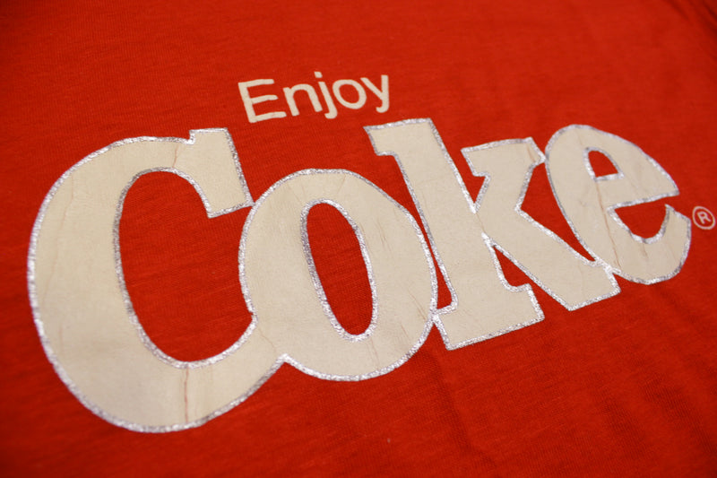 Enjoy Coke Signal Made In USA Coca Cola Single Stitch Vintage 80's Deadstock T-Shirt