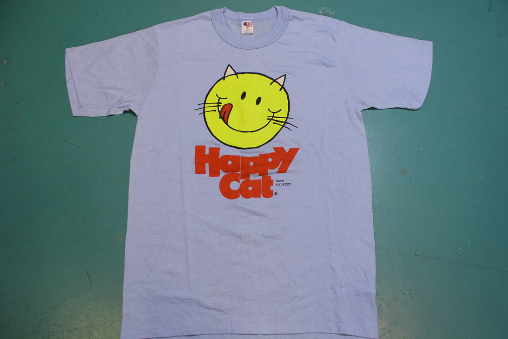 Happy Cat Brand Cat Food Vintage 80's NWOT T-Shirt Single Stitch