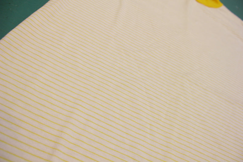 Yellow Striped Single Stitch Made In USA 80's Vintage T-shirt