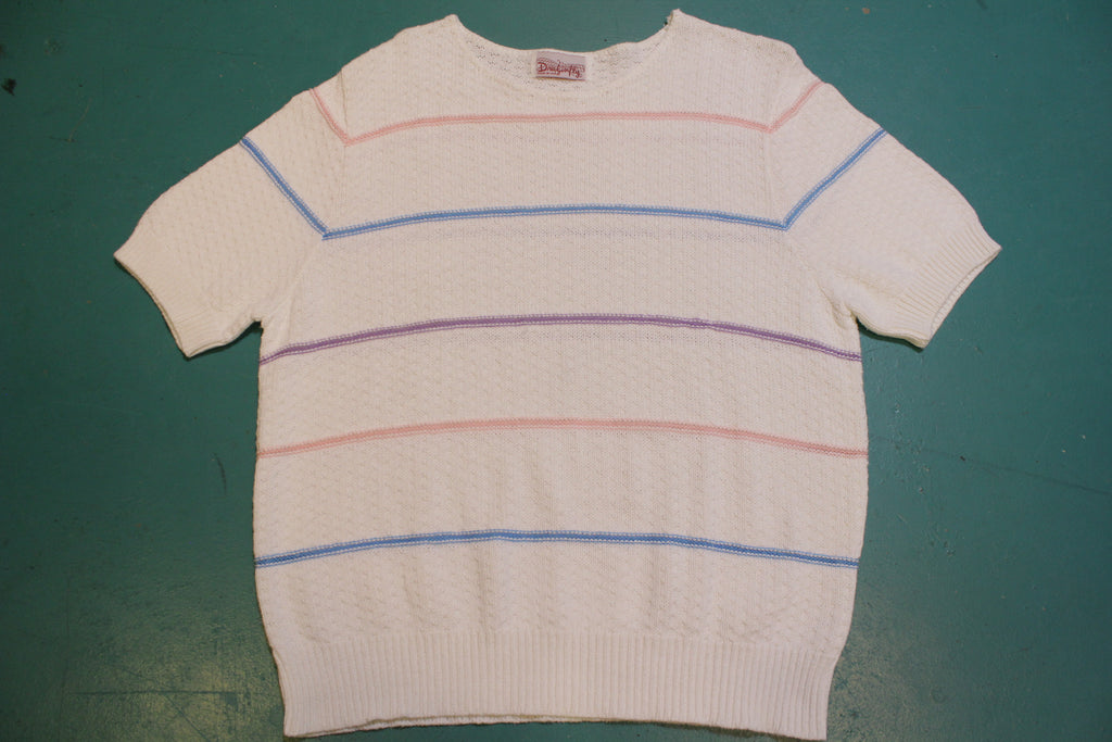 Dragonfly Made IN USA Vintage Knit Striped Women's 80's Short Sleeve Top