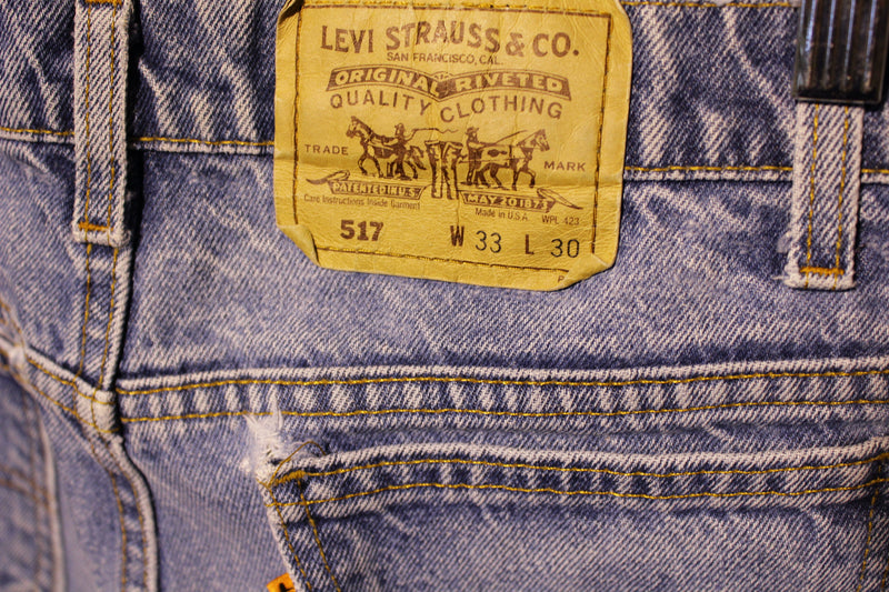 Levis Vintage 80s Orange Tab 517 Faded Denim Jeans Made in USA Men's Size 32x29