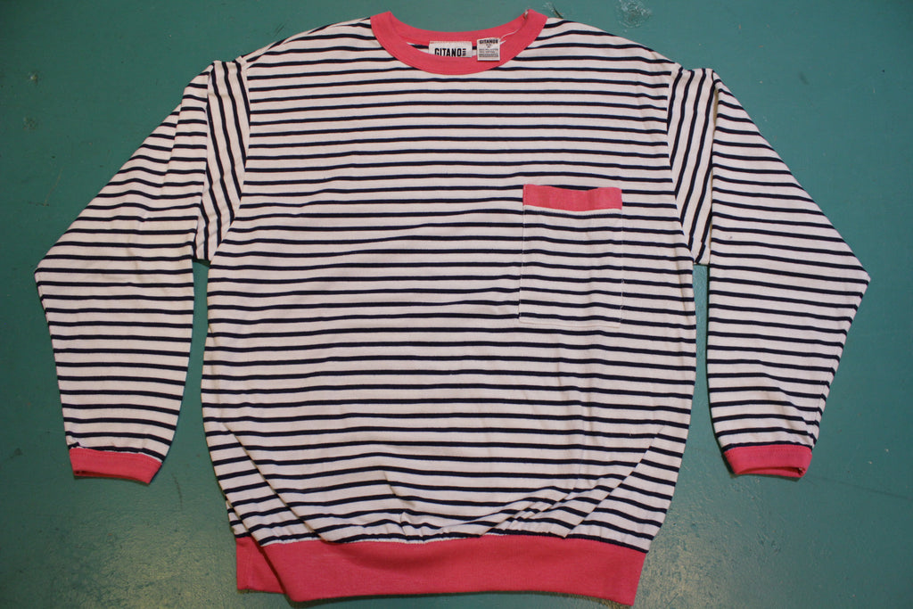 Gitano White Black Striped Pink Collar Women's 80's Short Sleeve Top