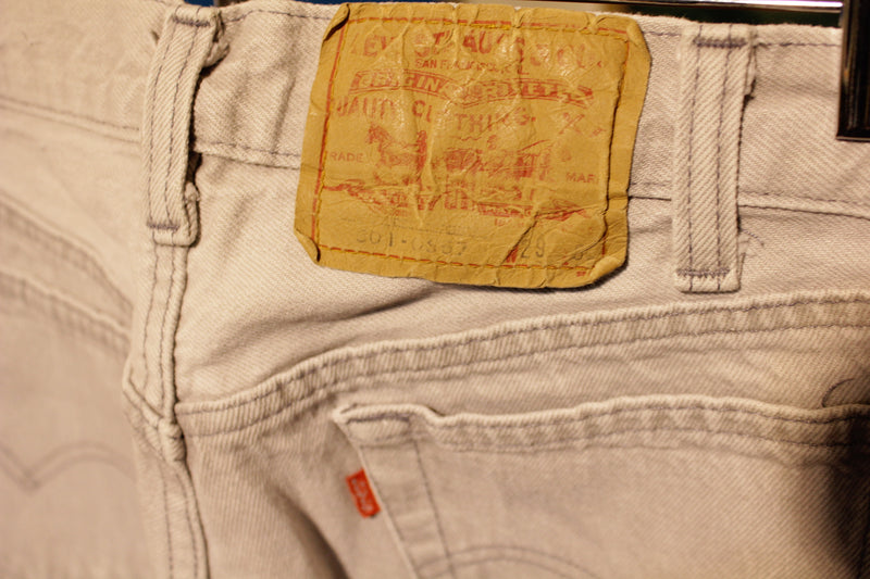 Levis Red Tab 501 80s Made In USA Jeans. Men's Waist 28 Grey White