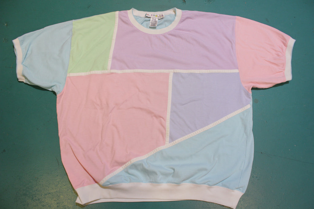 Belvedere Pastel Color Block Vintage Women's 80's Short Sleeve Top