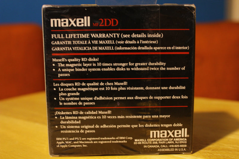 "Maxwell MF2DD Double Density Floppy Disk 3 1/2"" 10 pack"