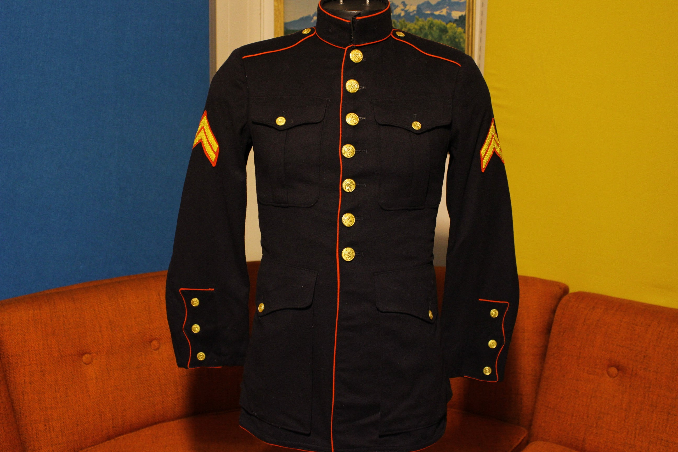 WW2 USMC Marines Corps Blues Dress Uniform Suit Jacket w/ Chevron Stripes Stromatt