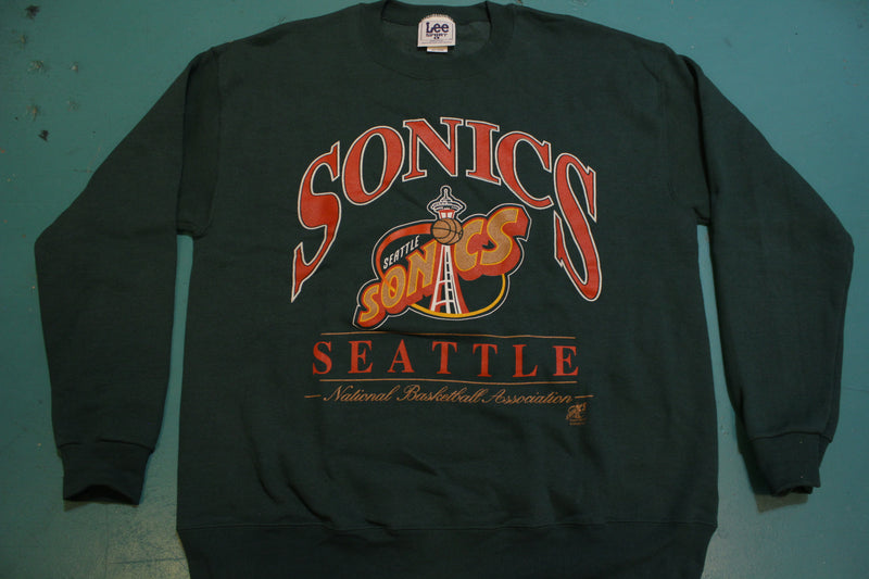 Seattle Sonics Deadstock Mint Lee Sport Nutmeg USA Made 90's Crewneck Sweatshirt