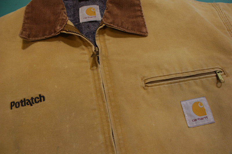 Carhartt J01 BRN Detroit Brown Duck Cotton Blanket Lined Jacket 44 Regular L USA