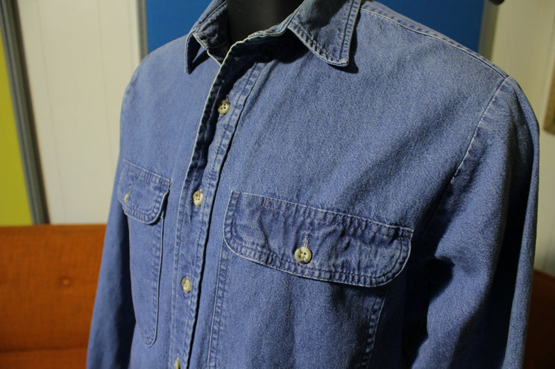 Roebucks Vintage Denim Indigo Long Sleeve Shirt. 80's
