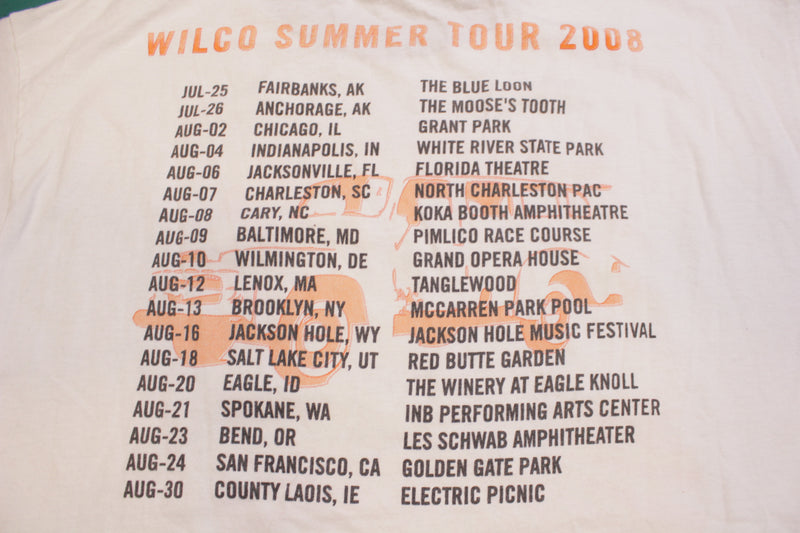 Wilco Summer Tour 2008 Double Sided Cities List Vintage Concert Ringer T-shirt