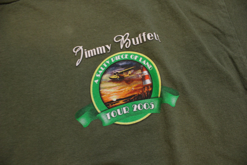 Jimmy Buffett A Salty Piece of Land 2005 Double Sided Vintage Concert T-Shirt