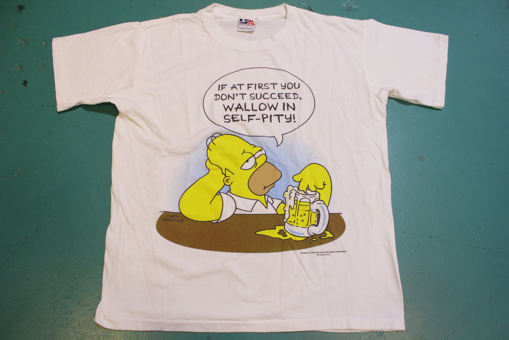 Simpsons Homer Wallow in Self-Pity Beer 1998 USA Vintage 90's Single Stitch T-Shirt