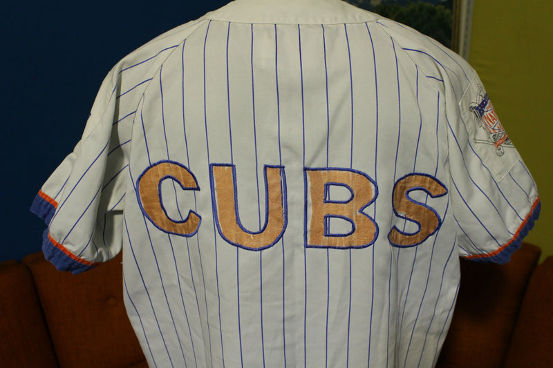 Chicago Cubs Pinstripe Vintage Starter Button Up Jersey. Throwback Baseball
