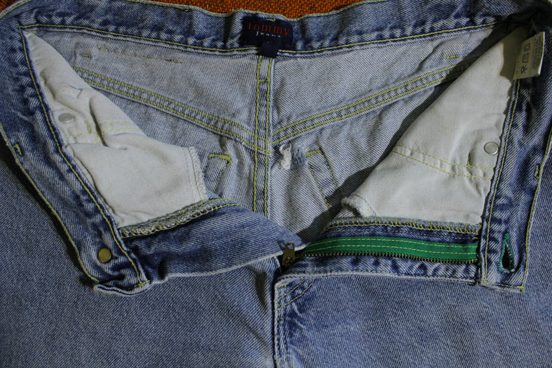 Tommy Hilfiger Vintage Patch Women's 90's Jeans. Faded Stone Washed USA Made.