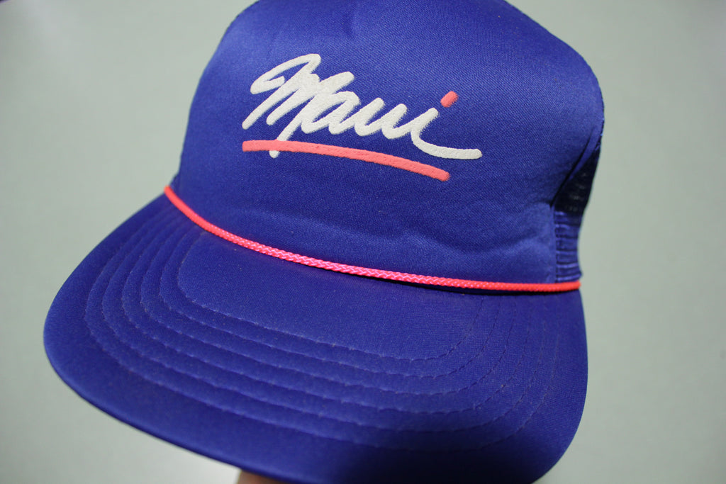 Maui Hawaii Pink Cord Deadstock Vintage 80's Adjustable Back Snapback Trucker Hat