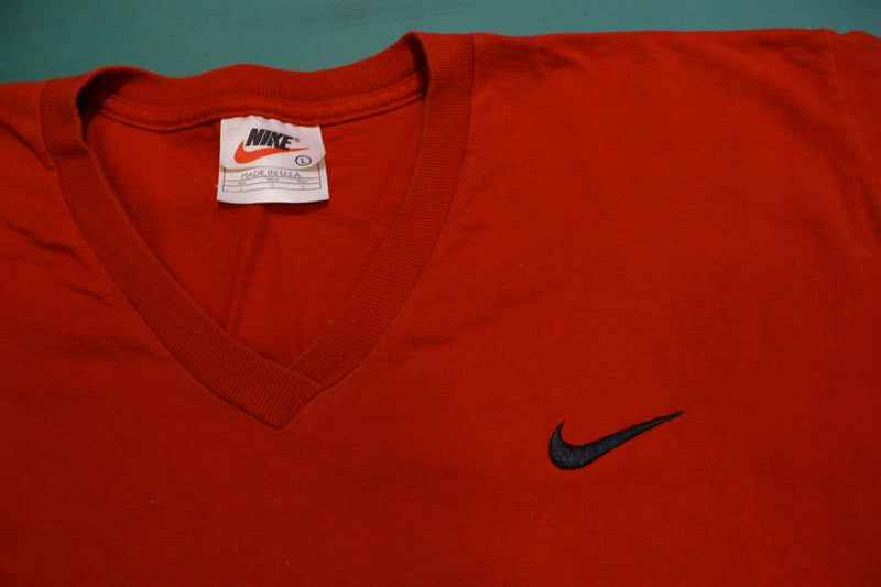 Nike V-Neck Check Embroidered Swoosh Red Essential 90s Vintage Made in USA T-Shirt
