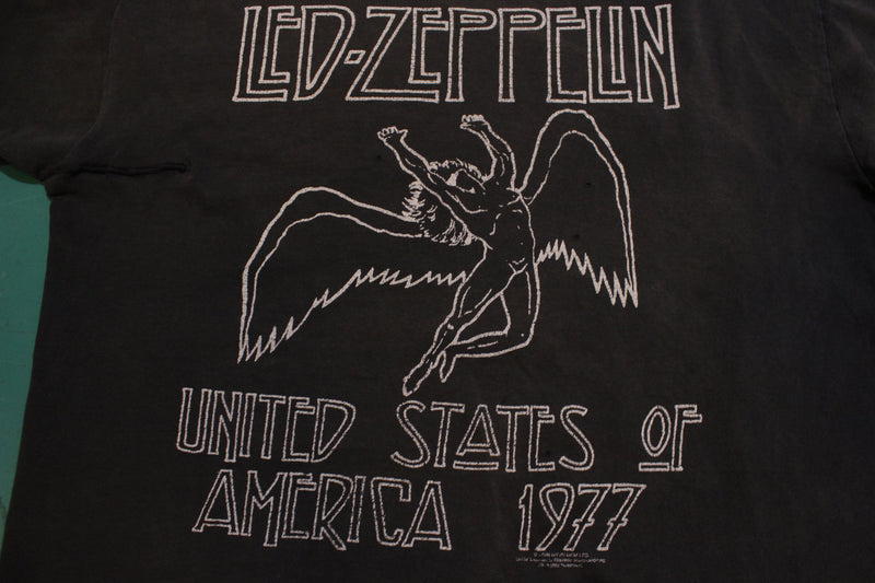 Led Zeppelin 2006 Reprint 1977 Concert Zoso Double Sided Tour Hanes T-Shirt