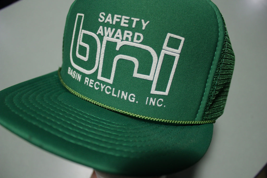 BRI Basin Recycling Inc. Vintage 80's Adjustable Back Snapback Trucker Hat