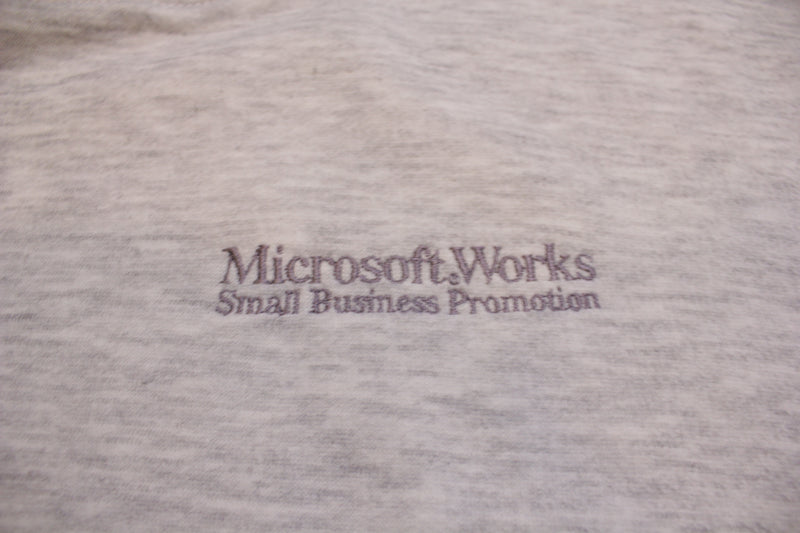 Microsoft Works Small Business Promotion Vintage 90's Striped Crewneck Sweatshirt
