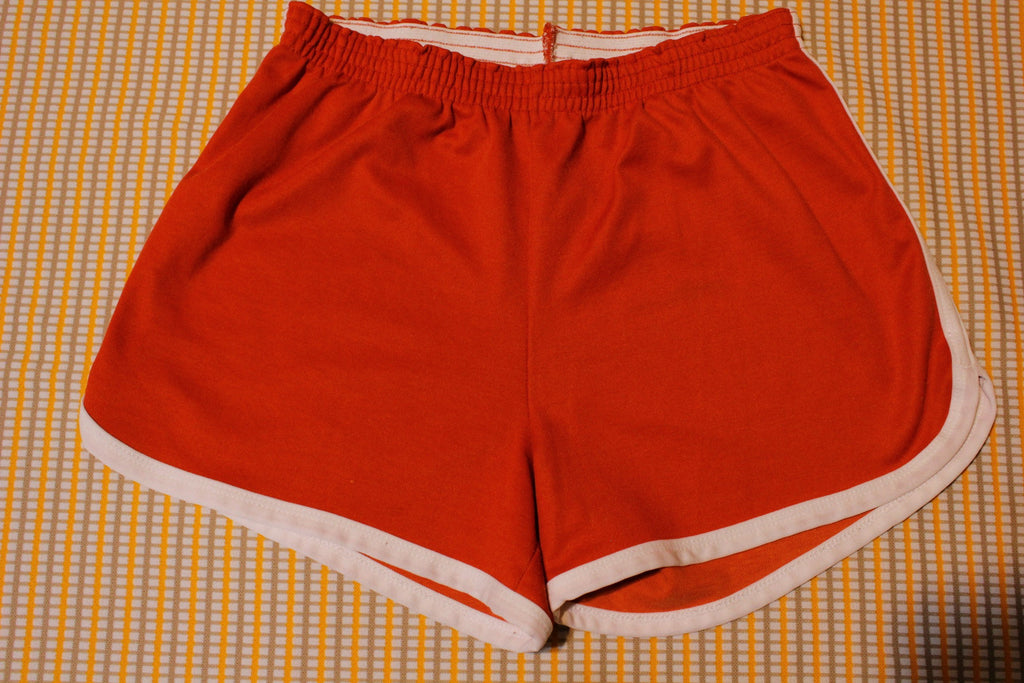 1980's Red White Striped Vintage Gym Shorts. Medium