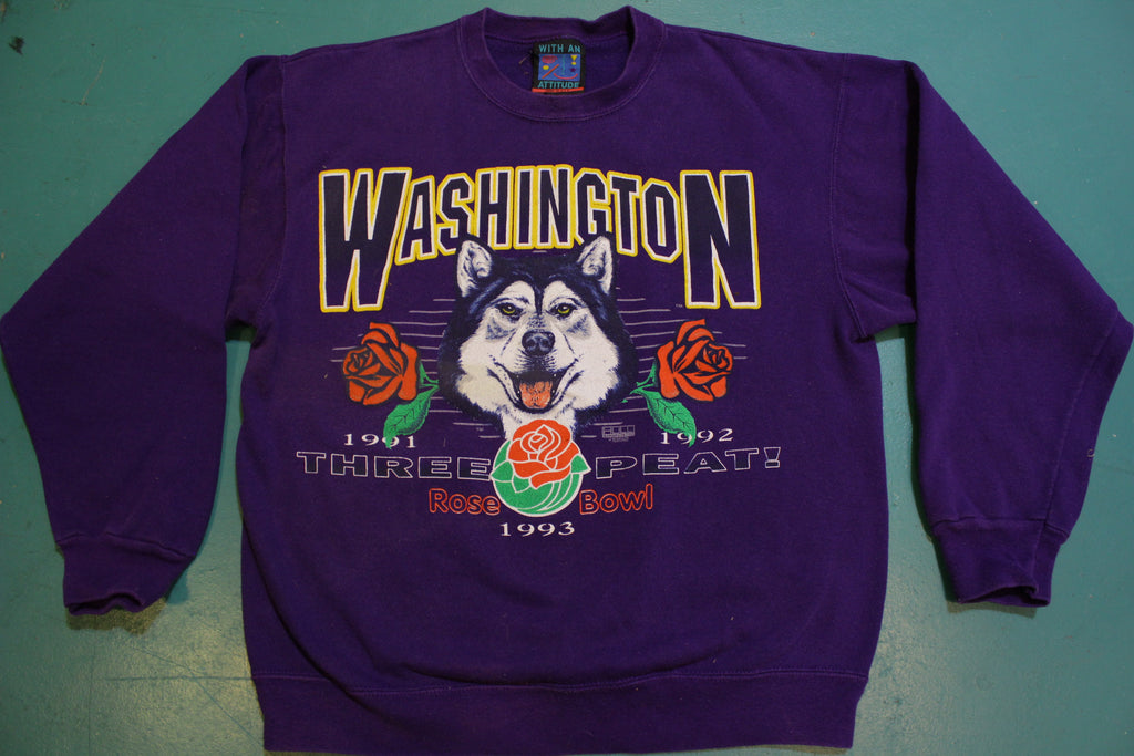 UW Washington Huskies Three Peat Rosebowl 1993 Vintage 90's Crewneck Sweatshirt