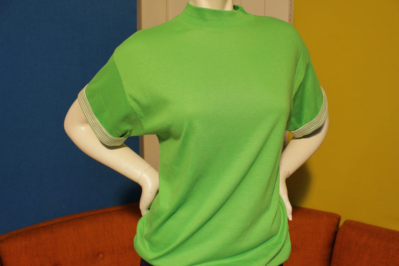 Classic Fashions 80's Neon Green Vintage T-Shirt. Tall Collar, Striped Rolled Sleeves.  Cute.
